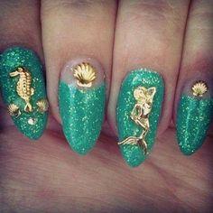 Items similar to Whole Fingernail Mermaid Nail Art Decorations DIY Golden Alloy Nails Tools DIY on Etsy Get Nails, Love Nails, Hair And Nails, Summer Acrylic Nails, Summer Nails, Gorgeous Nails, Pretty Nails, Perfect Nails, Little Mermaid Nail Art