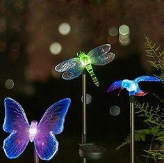 Garden Yard Esky Solar Powered Hummingbird Butterfly Dragonfly Stake Light New