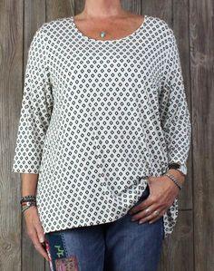 J Jill Wearever Blouse XL size Black White Tunic Top Career Casual Womens