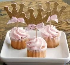Glitter Gold Crown Cupcake Toppers - Pink and Gold Birthday Decorations - Gold Birthday, 1st Birthday Girls, Princess Birthday, 2nd Birthday Parties, Deco Cupcake, Crown Cupcake Toppers, Vintage Cupcake, Rose Cupcake, Cupcake Cakes