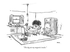 The dog ate my magnetic insoles. - New Yorker Cartoon Premium Giclee Print by George Booth