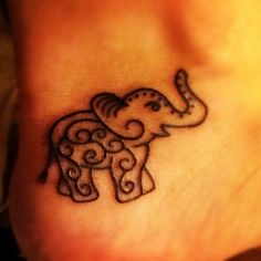 Love elephants & the trunk MUST be up for good luck. The line work is too thick & pretty sloppy on this one, but I like the general idea. Plus, I'd add lots of colors.