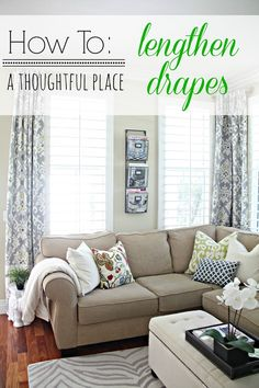 """DIY::Have you ever swooned over 84"""" drapes or any drape that is too short for your room? Here is an inexpensive easy way to solve that problem !!"""