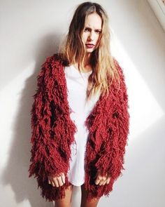 Red fluffy shag jacket #rockstar
