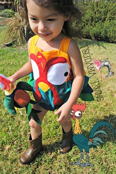 Moana Hei Hei Costume HeiHei Costume Moana Hei Hei Romper First Halloween, Family Halloween, Halloween Costumes For Kids, Halloween 2017, Halloween Party, Heihei Costume, Sully Costume, Cute Baby Costumes, Sister Costumes