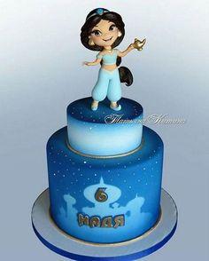 Magical Jasmine Birthday Cake made Tatyana Kitina Jasmine Birthday Cake, 6th Birthday Cakes, Disney Birthday, Birthday Cake Girls, Disney Princess Birthday Cakes, Disney Desserts, Disney Cakes, Aladdin Cake, Aladdin Party