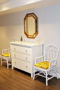 Ikea Hemnes hack with gold drawer pulls (Lee Valley ring pulls)
