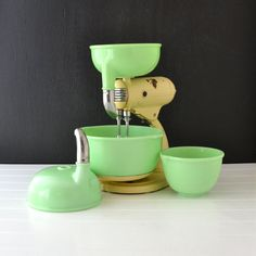 Vintage Sunbeam Mixmaster S 3A - Jadeite Bowls - Cream Stand - Vintage Kitchen - Mixing Bowls and Juicer Set via Etsy
