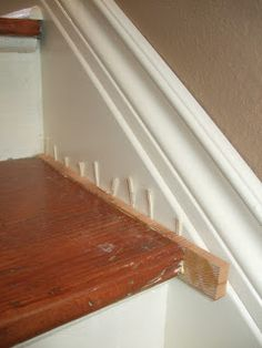 When we removed the strange bump out in the stairwell, it left us with an issue - gaps between the stairs and the wall. Stairs Trim, Redo Stairs, Stair Walls, Interior Staircase, Staircase Remodel, Staircase Design, Stairs Repair, Garage Guest House, Stair Renovation