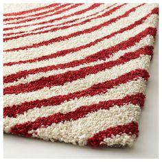 IKEA - EIVOR CIRKEL Rug, high pile white, red