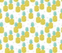 pineapple // pineapples fruits fruit summer tropical exotic food block print fabric by andrea_lauren on Spoonflower - custom fabric
