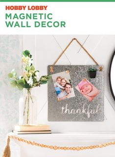 Personalize this galvanized magnetic wall decor with pictures of the ones you love. Office Wall Graphics, Porch Wall Decor, Modern Industrial Decor, Celtic, Photos Booth, Wedding Wall Decorations, Magnetic Wall, Mirror Wall Art, Wall Decor Pictures