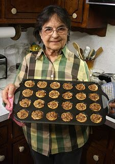 I could eat at least 6 of these mini Pecan Pies... good recipe from a charming blog called The 99 Cent Chef. This is his mom.
