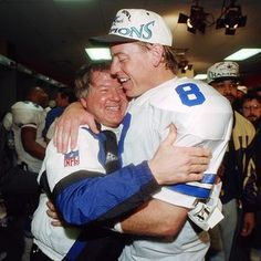 Head Coach Jimmy Johnson and quarterback Troy Aikman.