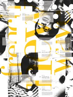 Tiphanie Brooke graphics, yellow and black is a good combo Graphic Design Posters, Graphic Design Typography, Graphic Design Illustration, Graphic Design Inspiration, Branding Design, Web Design, Layout Design, Design Art, French New Wave