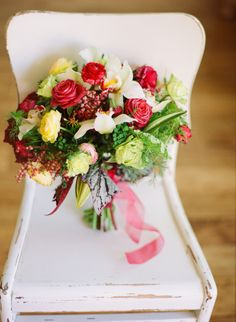 Roses and Orchids for a Romantic and colorful Bridal bouquet. Diana Marie Photography