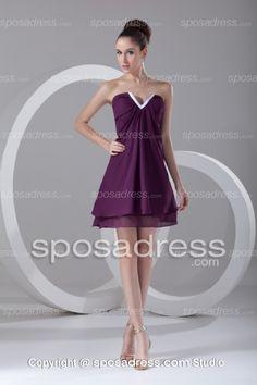 Little V Neckline Chiffon Mini Summer Cocktail Dress