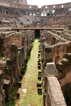 Inside part of the Coliseum where they held the gladiatorial games. (?)