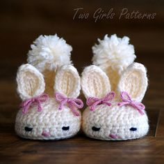 Adorable bunny slippers for 0-12 mths. Pattern can be purchased from Ravelry.