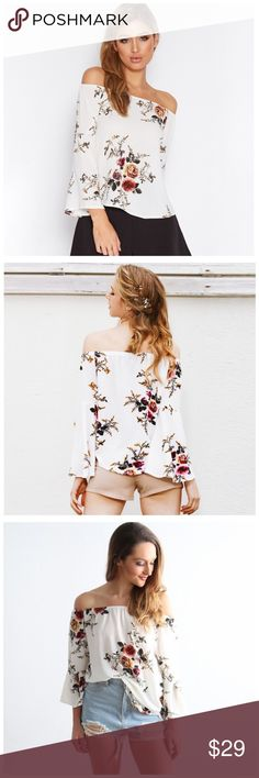 """🆕 White Floral Crepe Off The Shoulder Top DA17 ‼️ PRICE FIRM ‼️ 10% DISCOUNT ON 2 OR MORE ITEMS FROM MY CLOSET ‼️   Off The Shoulder   Retail $54  ADORABLE & SO FEMININE! Perfect top for all seasons. 65% cotton, 35% polyester. Plenty of stretch for a perfect fit.  XS Bust up to 38"""" Length of garment 21""""  SMALL Bust up to 40"""" Length of garment 22""""  MEDIUM Bust up to 42"""" Length of garment 22""""  LARGE Bust up to 46"""" Length of garment 23"""" Tops"""