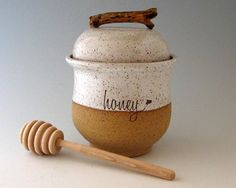 Honey Jar Pot With Dipper Wheel Thrown Pottery By Justmare Stoneware