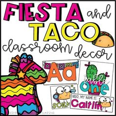 Fiesta and Taco Classroom Decor Bundle - Editable by Briana Beverly Teachers Pay Teachers Spanish Classroom Decor, Classroom Themes, Ela Classroom, Beginning Of School, Back To School, Journal Labels, Word Wall Headers, Birthday Display, Classroom Birthday