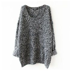 Chicnico Sexy Casual Gray Stripe Knitted Long Sleeve Sweater Oversized... ($30) ❤ liked on Polyvore featuring tops, sweaters, grey sweater, long sleeve tops, sexy tops, extra long sleeve sweater and wool sweaters