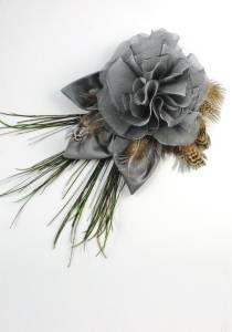Amethyst Silk Flower Clip--Style # 1075. silk, peacock & pheasant feather