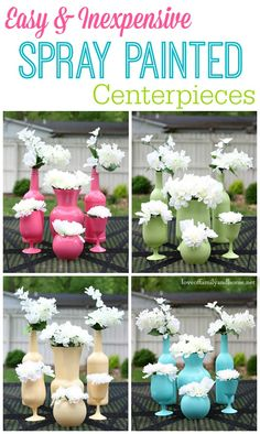Easy  Inexpensive Spray Painted Centerpieces - Perfect for Any Occasion!  Upcycle old wine bottles  glassware with a little spray paint to...
