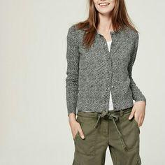 BRAND NEW Loft cardigan Light grey with dark grey dots. Animal print. Long sleeves. Crew neck. Hi-lo hem. Side slits. 100% cotton. LOFT Sweaters Cardigans