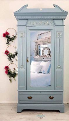 nish UK has members.nish UK is an online furniture marketplace dedicated to bringing you one-of-a-kind pieces guaranteed to make a. Painted Wardrobe, Mirrored Wardrobe, Wardrobe Furniture, Bedroom Furniture, Furniture Storage, Bedroom Storage, Blue Bedroom, Trendy Bedroom, Art Nouveau