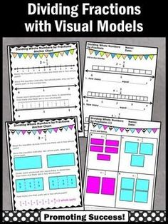 These 5th grade printable math worksheets show dividing whole numbers by fractions on a number line and with visual models. Anchor charts, activities, examples and word problems are included. Upper Elementary Common Core Math Teacher Lesson: CCSS.MATH.CONTENT.5.NF.B.7.B