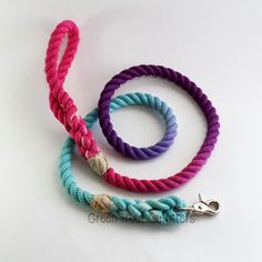 Tri-Color Rope Dog Leash: Fuschia, Purple, Aqua. By Green Trout Outfitters.