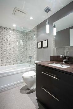 Modern powder room with hardwood floors powder room for Small bathroom design help