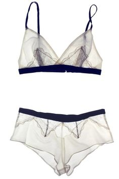 Arabesque Ivory/Navy Cotton Silk & Lace Soft Bralette | Luxury Designer Lingerie…
