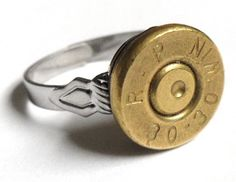 This ring was crafted from an old Remington 30-30-caliber Winchester rifle bullet casing shell.