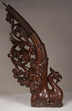 Stair banister with griffin decor made out of mahogany circa 1910 - Architectural elements, staircase, columns Staircase Railings, Banisters, Stairs, Staircases, Architectural Antiques, Architectural Elements, Carving Designs, Wooden Art, Into The Woods