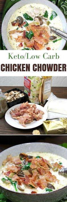 Keto Low Carb Instant Pot Creamy Chicken Chowder | 5dinners1hour.com