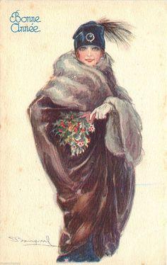 A s Bompard Bonne Annee Pretty Woman Fur Coat Fancy Hat with Feather Old PC | eBay
