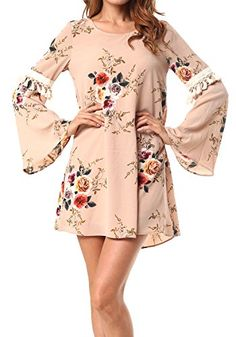 CALIPESSA Womens Summer Tassels Bell Sleeve Floral Holes Back Casual Shift Dress