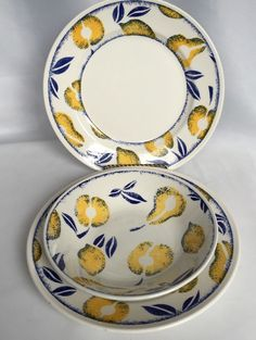 Royal Wessex Fruits Pattern 2 Dinner Plates 1 Soup Bowl Lemons Pears England