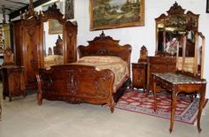 Antique-Country-French-LouisXV-Carved-Walnut-Six-Piece-Queen-Bedroom-Set-C1870