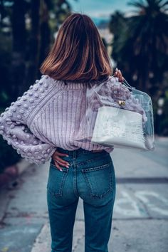 0df7179b7a7 The coziest and cutest lavender sweater ever! Such a statement piece on its  own -