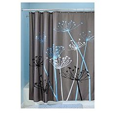 Amazon.com: InterDesign Thistle Fabric Shower Curtain, 72 x 72-Inch, Gray/Blue: Home & Kitchen