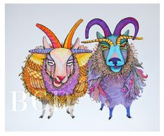 I love the colors of these funky sheep!