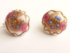 Venetian Murano Lampwork & Aventurine Pink Cabbage Rose Button Clip Back Earrings Signed MARVELLA