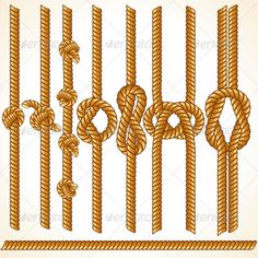 Rope Borders #GraphicRiver Cord or Rope Borders with Various Knots. Connectable Pieces. Set of Vector Design Elements
