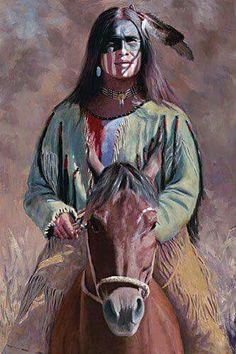 Native American painting depicting a brave on horseback with honorary face-paint on his face and looking proud, as he should because he's awesome! Native American Warrior, Native American Wisdom, Native American Beauty, Native American Tribes, American Indian Art, Native American History, Native American Paintings, Native American Pictures, Art Occidental