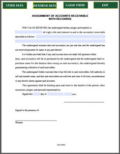 Assignment Of Contract  Forms