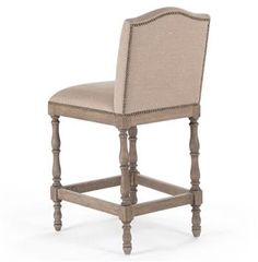 Debussy French Country Reclaimed Oak Linen Counter Stool 664